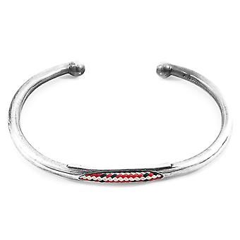 Anchor & Crew Red Dash Trent Silver and Rope Bangle