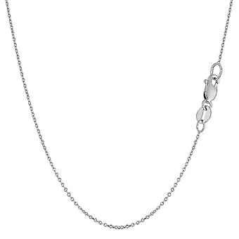 10k White Gold Cable Link Chain Necklace, 1mm, 18