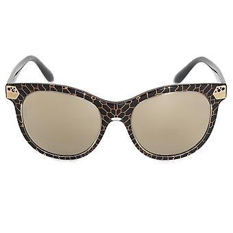 Bvlgari Cat Eye solglasögon BV8185B 54215A 55 | Svart acetat ram | Guld spegel linser