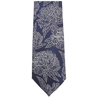 Knightsbridge Krawatten große florale Krawatte - Navy/weiß