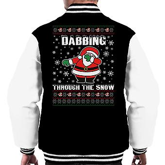 Christmas Dabbing Dance Through The Snow Men's Varsity Jacket