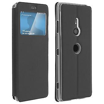Okno z klapką, etui flip portfel z podstawą dla Sony Xperia XZ3 - czarny