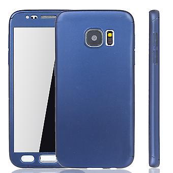 Samsung Galaxy S7 mobile sag beskyttelse sag 360 fuld-cover beskyttelse glas blå tank