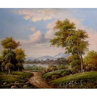 المناظر الطبيعية ، وحه زيتية علي قماش ، 50x60 سم