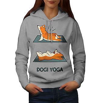 Cute Dog Yoga Lazy Women GreyHoodie | Wellcoda