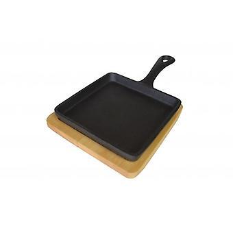 Cast Iron Mini Square koekepan met onderzetter