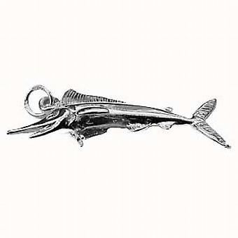 الفضة 14x40mm الصلبة قلادة السمك السيف أو سحر
