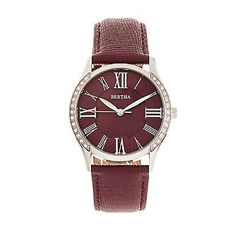 Bertha Sadie Mother-of-Pearl Leather-Band Watch - Burgundy