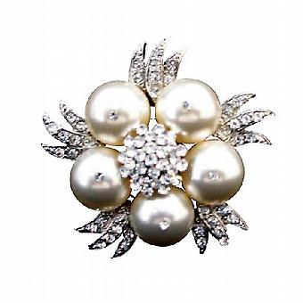 Swarovski-Elfenbein-Perlen-Brosche echte Swarovski Perlen Brosche w / funkelnden simulierte Diamant Hochzeit