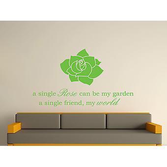 A Single Rose Wall Art Sticker - Apple Green