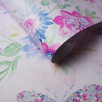 Watercolour Butterfly Wallpaper Flowers Floral Abstract Metallic Luxury Holden Pink Multicoloured