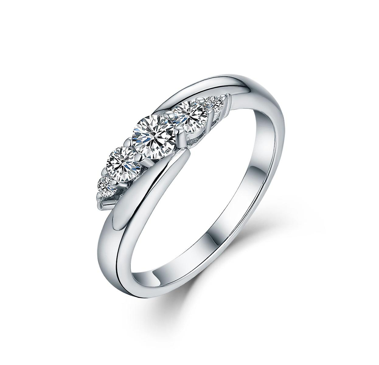 925 Sterling Silver Delicate Embrace Solid Band Engagement Ring