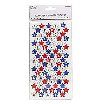 Simply Creative Alphabet & Number Stickers - Chipboard Stars (SCSTK001)