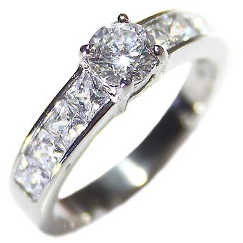 Ah! Jewellery Princess Cut Ring With A Brilliant Round Centre Stone