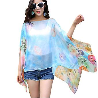 ® womens large summer poncho floral chiffon style scarf
