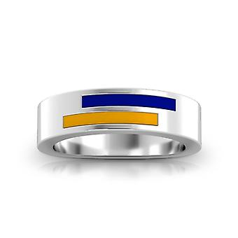 Rollins College Sterling Silver Asymmetric Enamel Ring In Blue and Yellow