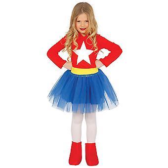 Girls Supergirl Superhero Fancy Dress Costume
