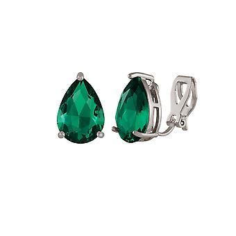 Eternal Collection Seduction Teardrop Emerald Green Crystal Silver Tone Stud Clip On Earrings