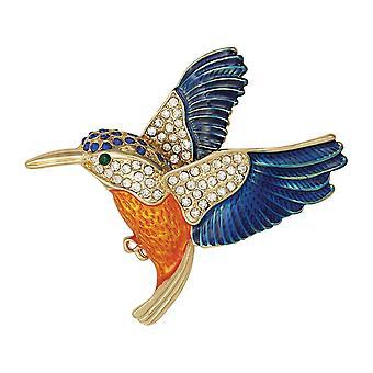 Wieczne kolekcji Kingfisher emalia Crystal Broszka