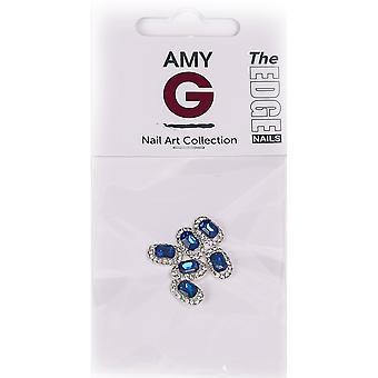 Die Rand Nägel Amy G - 3D Nail Art Nagel Juwelen - blau Saphir (6 Stück) (3003050)