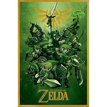 Affisch-Studio B-Zelda-länkar (grön) 36x24