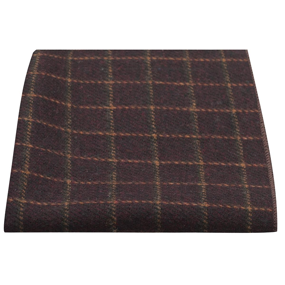 Luxury Merlot Red Tattersall Check Tweed Pocket Square, Handkerchief