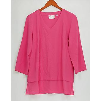 Linea by Louis Dell'Olio Women's Top V-Neck Mixed Media Tunic Pink A304735