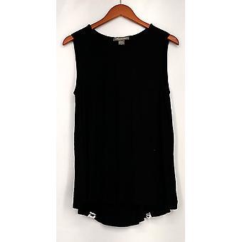 Kate & Mallory top Solid Knit tank Hi Lo hem zwart Womens