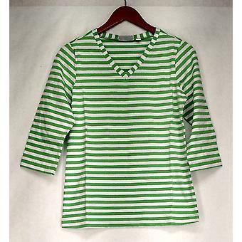Denim & Co topp 3/4 ermet V-hals stripete strikk sommer grønn A231995