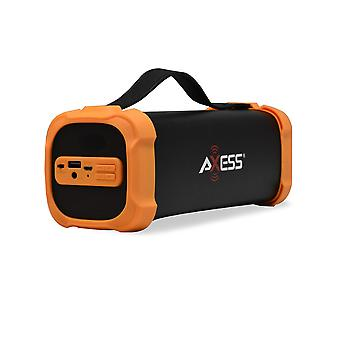Axess Portable Bluetooth Media Speaker With 3.5mm Aux Jack and FM Radio - Orange