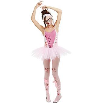 Zombie Ballerina Kostüm Damen mit Trikot Tutu Strumpfhose und Bänder