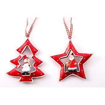 Wellindal Christmas Metal Decoration Hang 2 Models