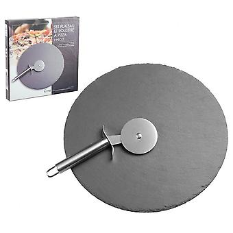 30cm ardósia cortador de pizza placa de corte com aço inoxidável slicer roda pizza corte
