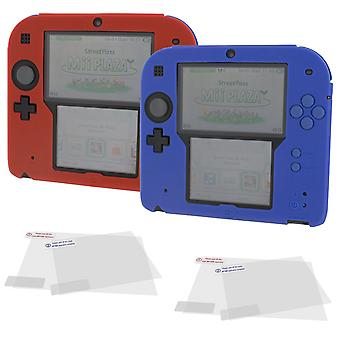 Cover & protect twin pack for nintendo 2ds inc silicone skins & screen protectors - red & blue