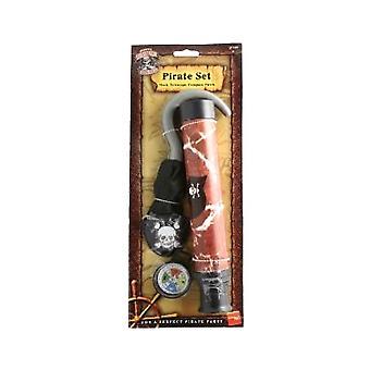 Piraten Set - Haken - Teleskop - Kompass - Patch (Anzahl 1)