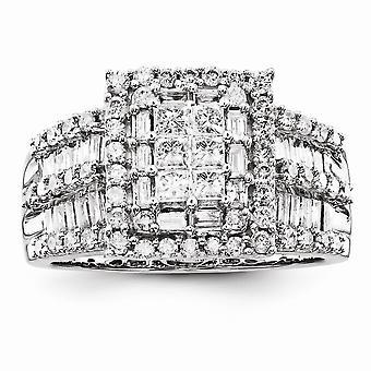 14kホワイトゴールド研磨ラウンド、プリンセス、バゲットダイヤモンドリングジュエリーギフト女性のためのギフト - 1.51 dwt