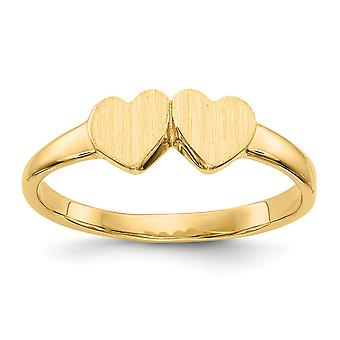 14k Yellow Gold Solid Polished Open back Engravable for boys or girls Double Love Heart Ring Size 3