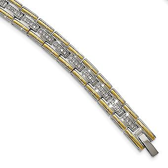 Stainless Steel Polished Yellow Ip CZ Cubic Zirconia Simulated Diamond 8.50inch Link Bracelet 8.5 Inch Jewelry Gifts for