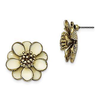 Tono oro Poste de acero quirúrgico crema esmalte flor Post pendientes joyería regalos para las mujeres