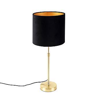 QAZQA Lampe de table or / laiton avec ombre velor noir 25 cm - Parte