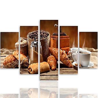 Cinco partes de imagen en lienzo, Pentaptych, tipo A, desayuno francés