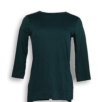 Isaac Mizrahi Live! Women's Top XXS Essentials Pima Cotton Crew Green A293971