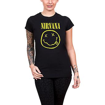 Nirvana T Shirt Classic Face Logo Official Womens New Black Skinny Fit