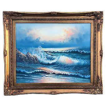 Sjø og fugler, olje maleri med ramme, 40x50 cm