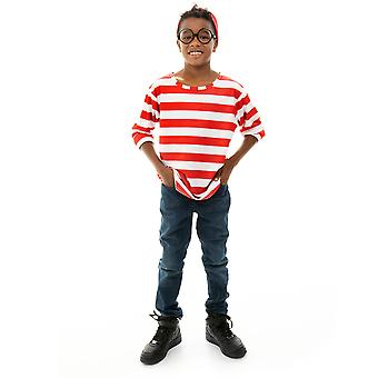 Where's Wally Halloween Costume - Child's Cosplay Outfit, L