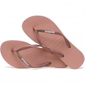 Havaianas Hav Slim Brasil Logo Ladies Flip Flops Rose Nude