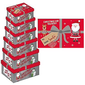 Eurowrap Christmas Christmas Eve Oblong Gift Boxes (Pack of 6)
