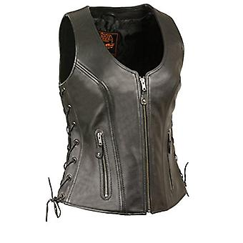 Milwaukee Women's Side Lace Vest with Stitch Detailing, Black, Size X-Large
