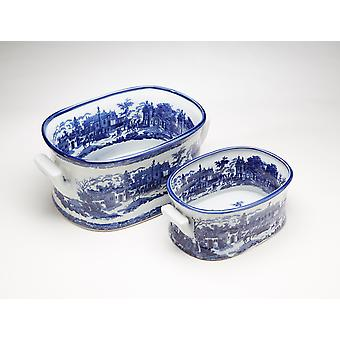 AA Importing 59840 Blue And White Planter - Set of 2