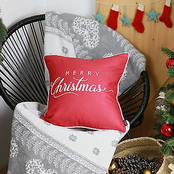 "18""x18"" White Quote Printed Christmas Decorative Throw Pillow Cover"